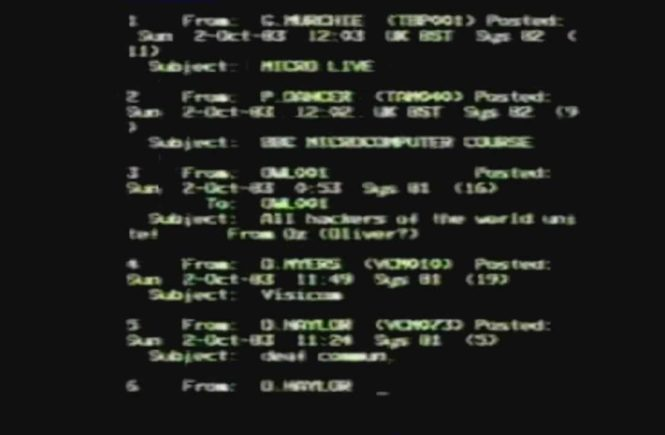 Screenshot from Micro Live Hacking Incident [BBC2, 02/10/83]